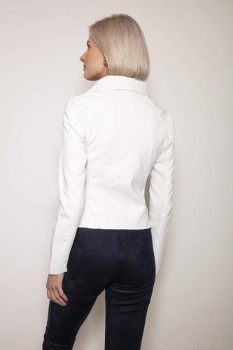 J'aime la Vie Jackets Side Zip PU Jacket in White