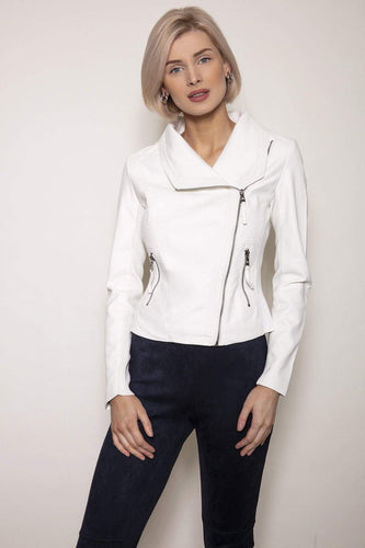 J'aime la Vie Jackets White / S Side Zip PU Jacket in White