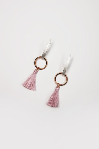Joularie Earrings Multi Silver and Rose Gold Pink Tassel Earrings