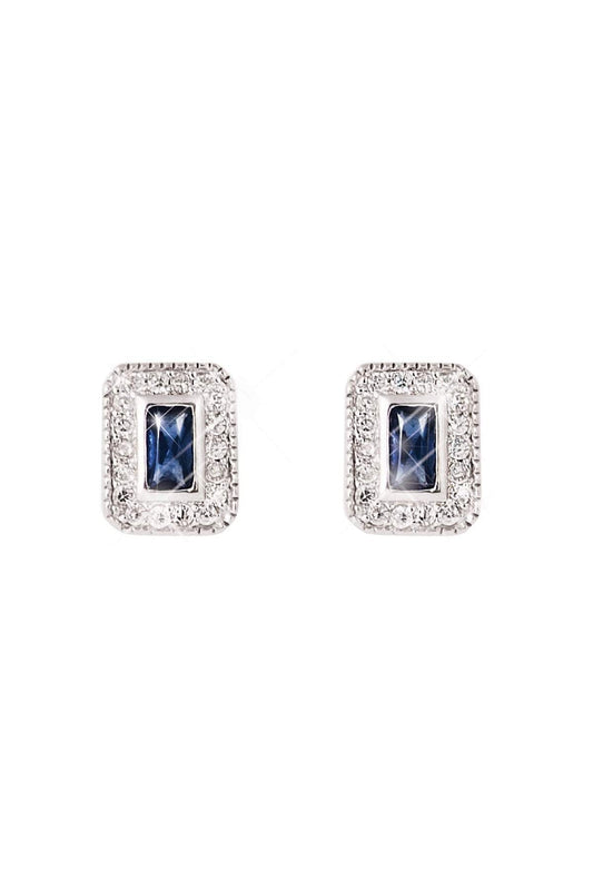 Tipperary Crystal Jewellery Earrings Silver Silver Earrings with Sapphire Centre