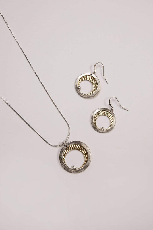 Joularie Necklaces Multi Silver Scratched Circle Necklace