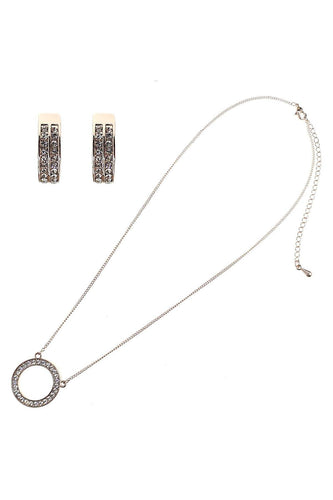 Joularie Jewellery Sets Rose Gold Single Diamante Circle Set