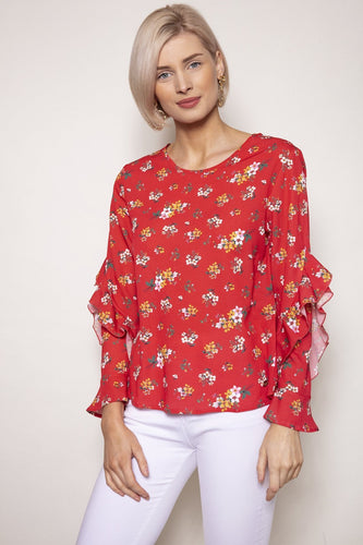 Rowen Avenue Tops Red / S / Long Sleeve Sleeve Detail Blouse in Red