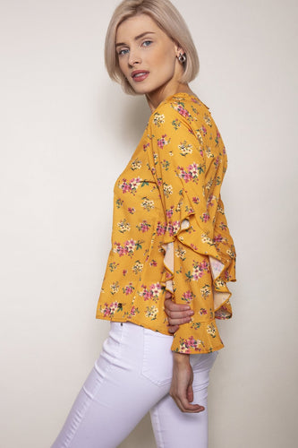Rowen Avenue Tops Sleeve Detail Blouse in Yellow