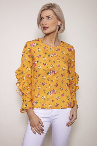 Rowen Avenue Tops Yellow / S / Long Sleeve Sleeve Detail Blouse in Yellow