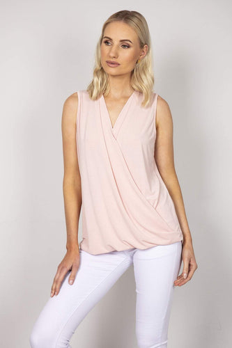 Pala D'oro Tops Pink / S/M Sleeveless Basic Crossover Top in Pink