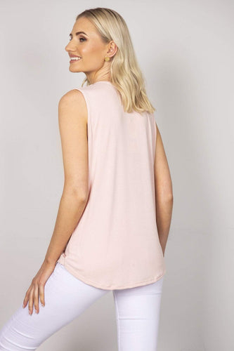 Pala D'oro Tops Sleeveless Basic Crossover Top in Pink