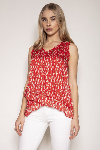 Rowen Avenue Tops Red / S / Sleeveless Sleeveless Floral Blouse in Rose Print