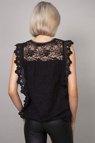 Pala D'oro Tops Sleeveless Lace Top in Black