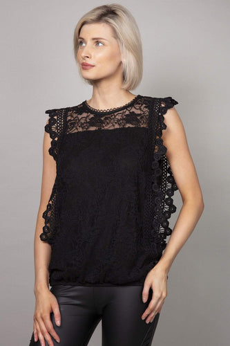 Pala D'oro Tops Black / S/M Sleeveless Lace Top in Black