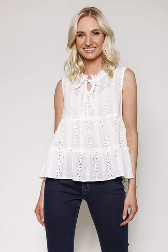Nova of London Tops White / S Sleeveless Lace Top in White