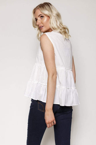 Nova of London Tops Sleeveless Lace Top in White