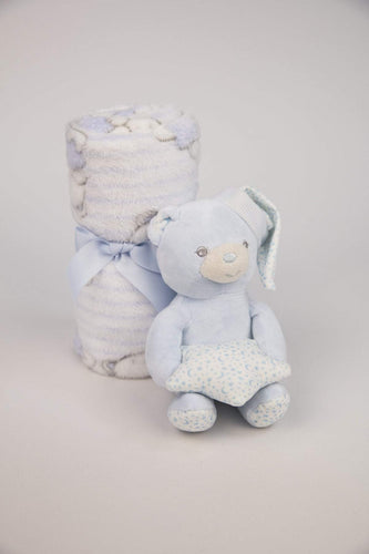 Carraig Donn HOME Blankets Small Blue Teddy and Blanket Gift Set