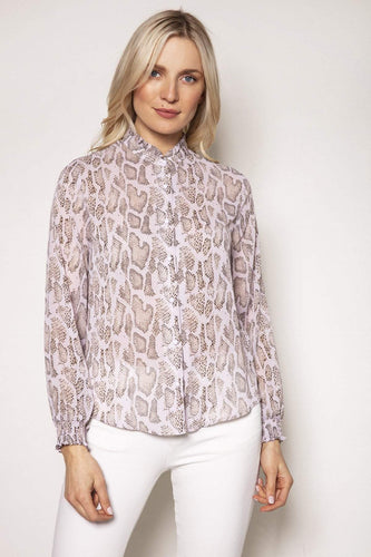 Rowen Avenue Tops Animal / S / Long Sleeve Snake Print Blouse in Blush