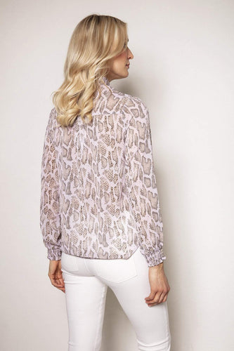 Rowen Avenue Tops Snake Print Blouse in Blush