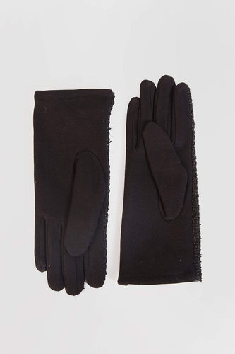 SOUL Accessories Gloves One / Black Soft Open Front with Lace Gloves in Black