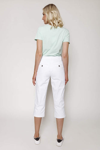 Kelly & Grace Weekend Trousers Soft Touch Capri Pants in White