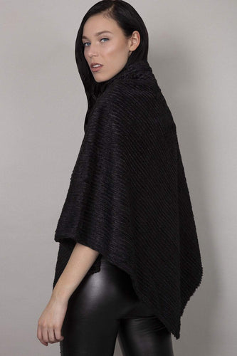 SOUL Accessories Ponchos Black / One Soft Touch High Neck Poncho in Black