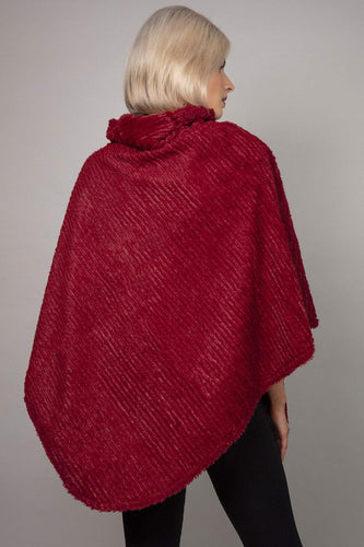 SOUL Accessories Ponchos Burgundy / One Soft Touch High Neck Poncho in Burgundy