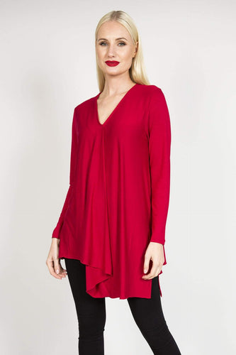 Sophye Tops Red / S Sophye Asymmetrical Top in Red