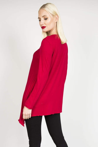 Sophye Tops Sophye Asymmetrical Top in Red