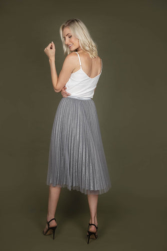 Darling Skirts Sparkle Mesh Skirt in Silver