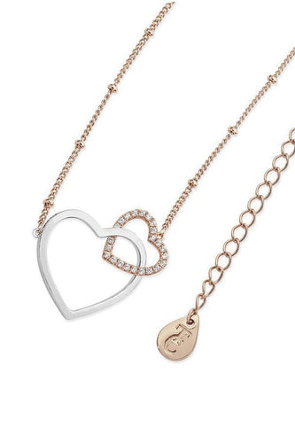 Tipperary Crystal Jewellery Necklaces Rose Gold Sparkling Interlinked Hearts Pendant