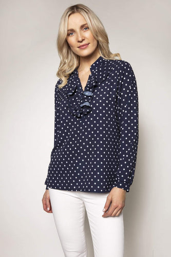 Pala D'oro Tops Navy / S/M / Long Sleeve Spot Frill Top in Navy