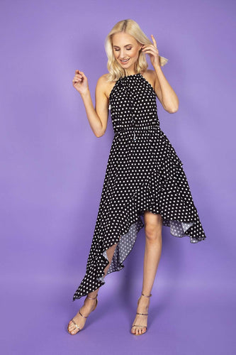 Pala D'oro Dresses Black / S/M / Midi Spot High Low Dress in Black