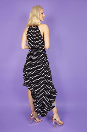 Pala D'oro Dresses Spot High Low Dress in Black