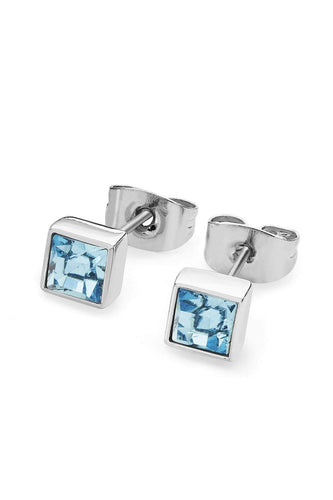 Tipperary Crystal Jewellery Earrings Silver Square Aquamarine Earrings March