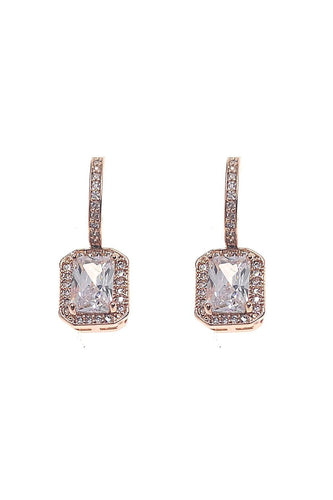 Joularie Earrings Rose Gold Square Diamante Drop Earrings