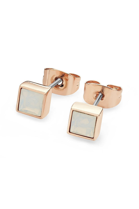 Tipperary Crystal Jewellery Earrings Rose Gold Square Opal Earrings October