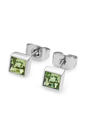 Tipperary Crystal Jewellery Earrings Silver Square Peridot Earrings August