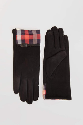 SOUL Accessories Gloves One / Black Squares and Belt Detail Gloves in Black