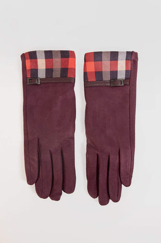 SOUL Accessories Gloves One / Red Squares and Belt Detail Gloves in Red