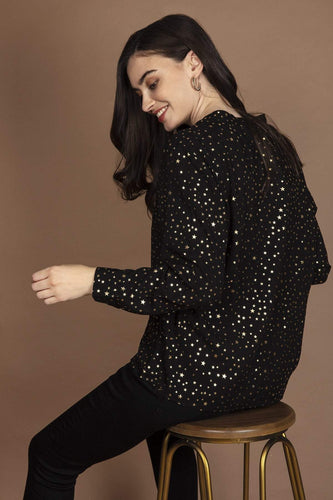 Rowen Avenue Blouses Stars Top in Black