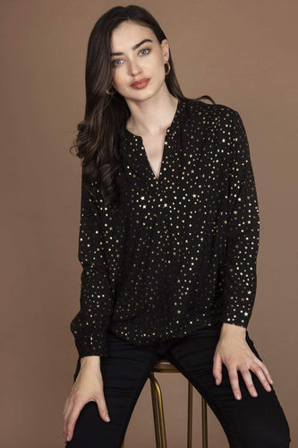 Rowen Avenue Blouses Black / S Stars Top in Black