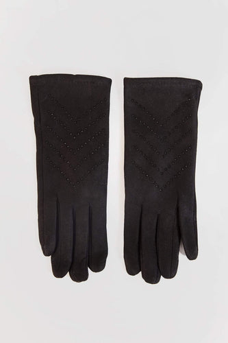 SOUL Accessories Gloves One / Black Stone Detail Gloves in Black