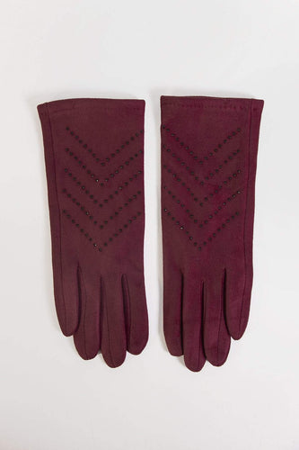 SOUL Accessories Gloves One / Burgundy Stone Detail Gloves in Burgundy