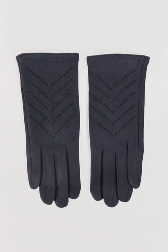 SOUL Accessories Gloves One / Navy Stone Detail Gloves in Navy