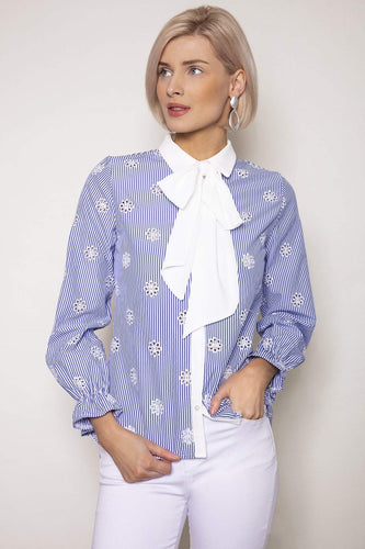 J'aime la Vie Shirts Blue / 10 / Long Sleeve Stripe Bow Shirt in Blue and White