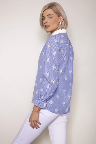 J'aime la Vie Shirts Stripe Bow Shirt in Blue and White