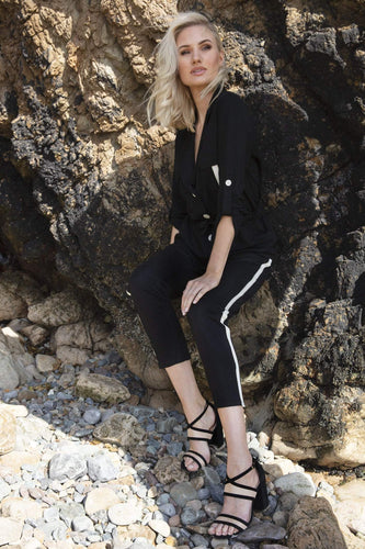 J'aime la Vie Trousers Stripe Detail Trousers in Black