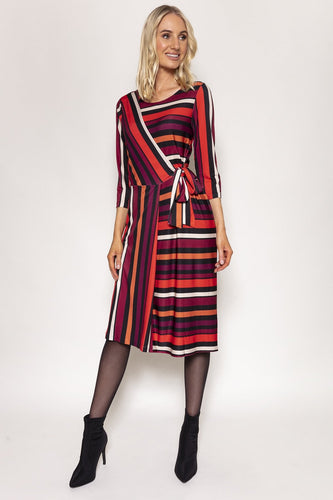 Rowen Avenue Dresses Multi / 8 / Midi Stripe Dress in Multi Tones