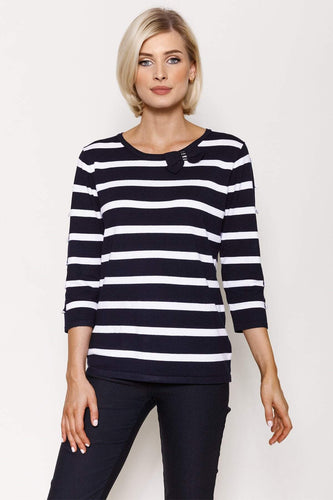 Voulez Vous Jumpers Navy / S Stripe Knit in Navy