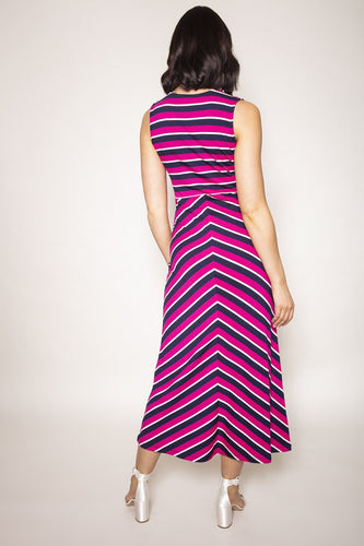 Kelly & Grace Weekend Dresses Stripe Maxi Dress in Pink and Navy