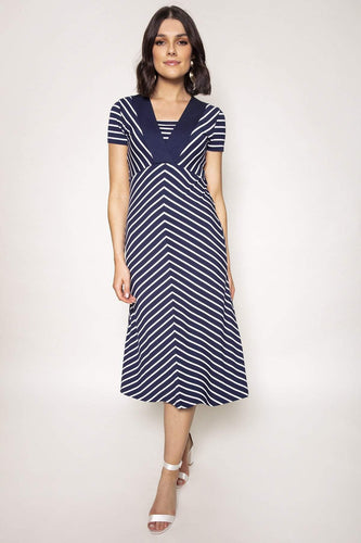 Kelly & Grace Weekend Dresses Navy / S / Midi Stripe Midi Dress in Navy