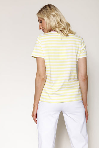 Kelly & Grace Weekend Tops Stripe Tee in Lemon