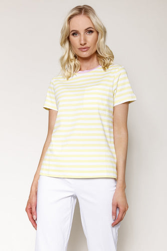 Kelly & Grace Weekend Tops Yellow / XS / Short Sleeve Stripe Tee in Lemon